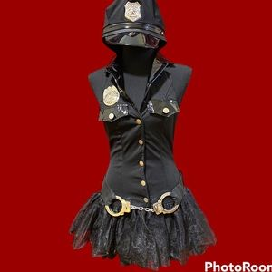 Hot Topic Sexy Police Woman Costume with handcuff belt, badge & hat included